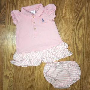 Ralph Lauren baby girl dress and diaper cover 6m
